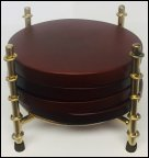 bamboo gold coaster holder with round coasters