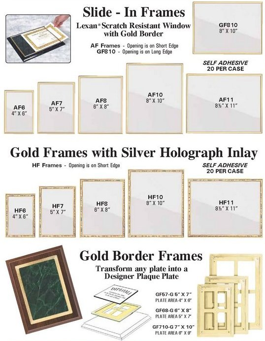 SLIDE IN FRAMES FOR PLAQUES